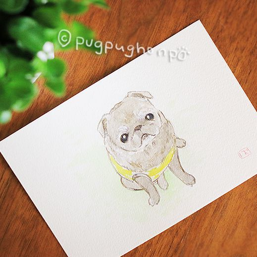 画像1: 水彩と色鉛筆のオーダー似顔絵イラスト(ハガキサイズ)